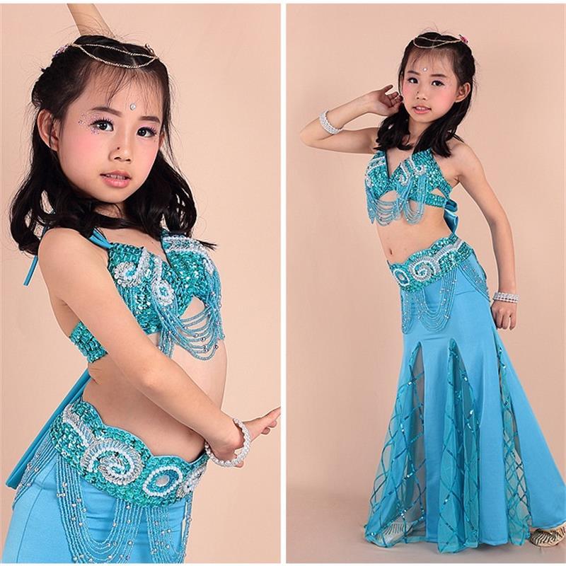 2019 enfants danse orientale du ventre matériel doux 3 pièces (soutien-gorge + ceinture + robe) vêtements indiens filles danse du ventre costume 8 couleurs