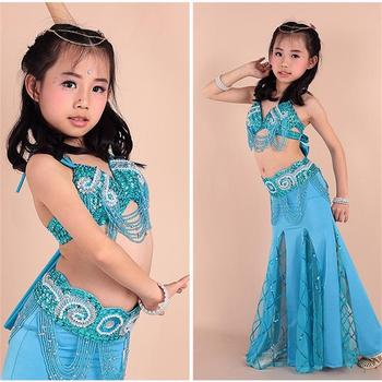 2020 kids oriental belly dance Soft material 3 pcs(bra+Belt+dress) indian clothes girls bellydance costume 8 colors