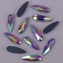 Free Shipping! High Quality 2x6mm, 3x10mm, 4x14mm Crystal AB Raindrop Hotfix Rhinestones / Iron On Flat Back Crystals(China)