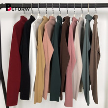 BEFORW 2019 Spring Casual Women T Shirt Tops Women Office Lady T-Shirt High Neck Fitted Pullovers Long Sleeve Black T Shirts Tee(China)