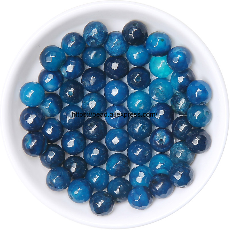"""4MM  AGATE GEMSTONE COBALT BLUE FACETED ROUND LOOSE BEADS 15/"""""""