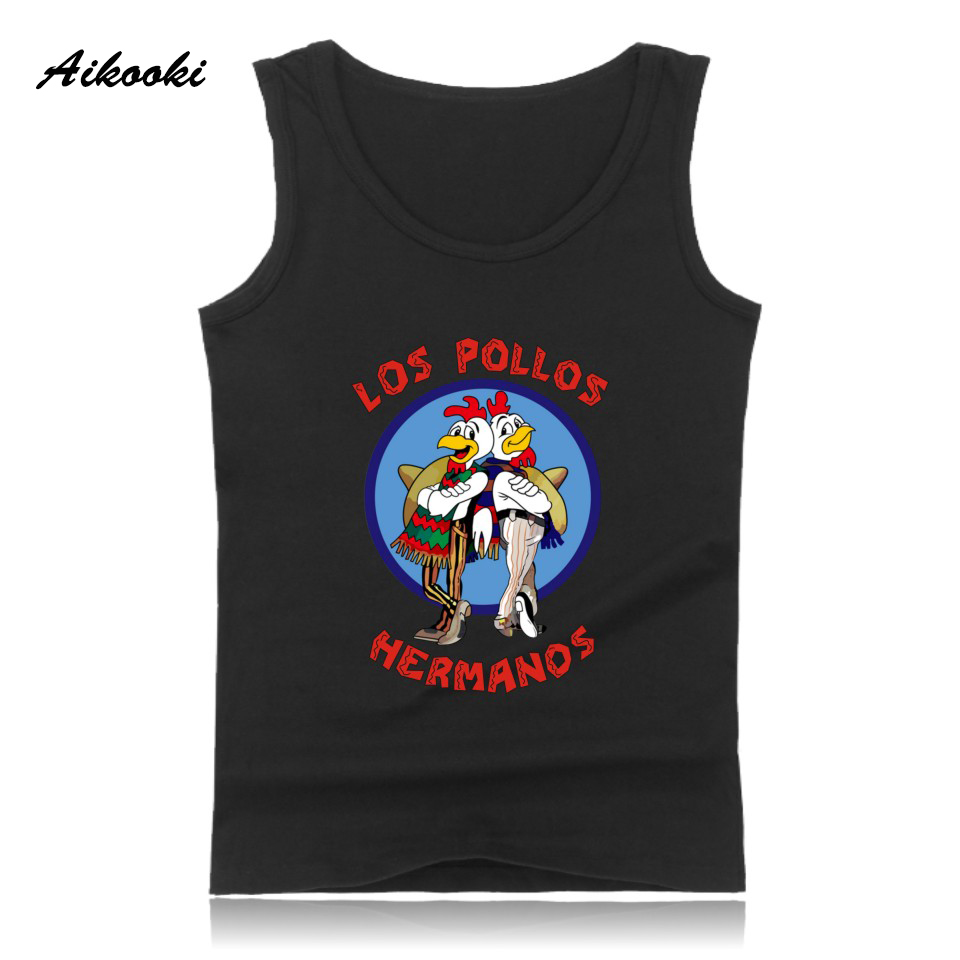 Aikooki LOS POLLOS HERMANES Vest Men Women Casual Sleeveless Cotton   Tank     Top   Hip Hop Summer Male Female Fashion Vest Print   Tops