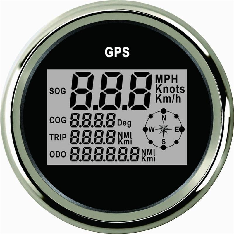 85ミリメートル車のgpsスピードメータートラックボートデジタル液晶ゲージノットコンパス付きgpsアンテナ
