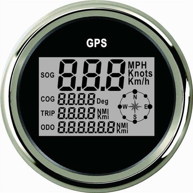 85mm Auto Tachimetro GPS Camion Barca Digital LCD Velocità del vento Gauge Nodi Bussola con Antenna GPS