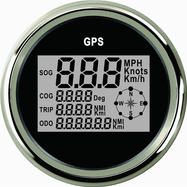 85mm Car GPS Speedometer Truck Boat Digital LCD Speed Gauge Knots Compass With Antenna