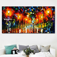Canvas oil painting handpainted Knife Streetscape Oil Painting Abstract Night Scenery Picture Wall Art Street Landscape