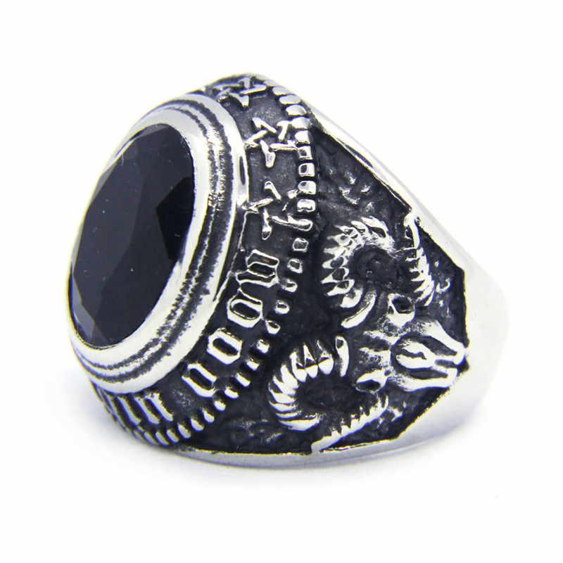 1ชิ้นDropshipใหม่หินสีดำตาแหวนสแตนเลส316Lแฟชั่นBiker Hiphotเย็นแหวน