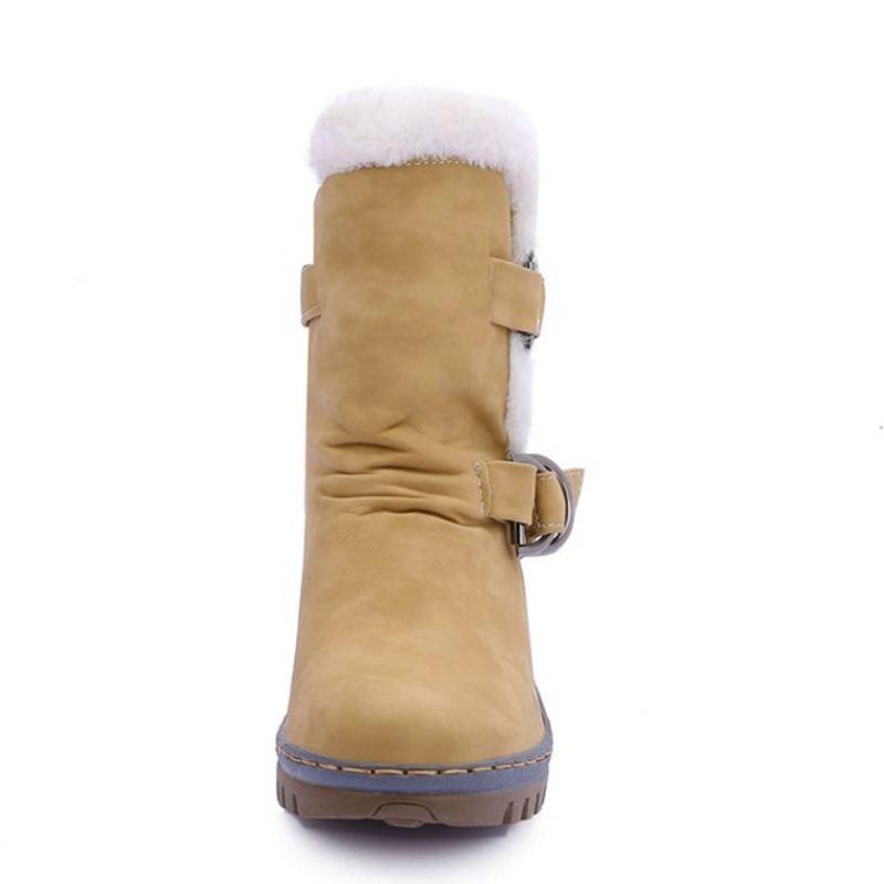 Plat Botas De Chaussures Courte Demi Y48 Mode Chaud Bout army marron Neige Beige Femmes D'hiver Mujer Green Botte Rond Boucle jaune Bottes fYx0nwq78