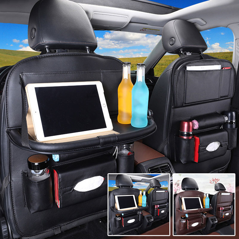Image 2 - Car Back Seat Organiser Folding Table Tablet Drinks Laptop Holder Storage Gifts-in Stowing Tidying from Automobiles & Motorcycles