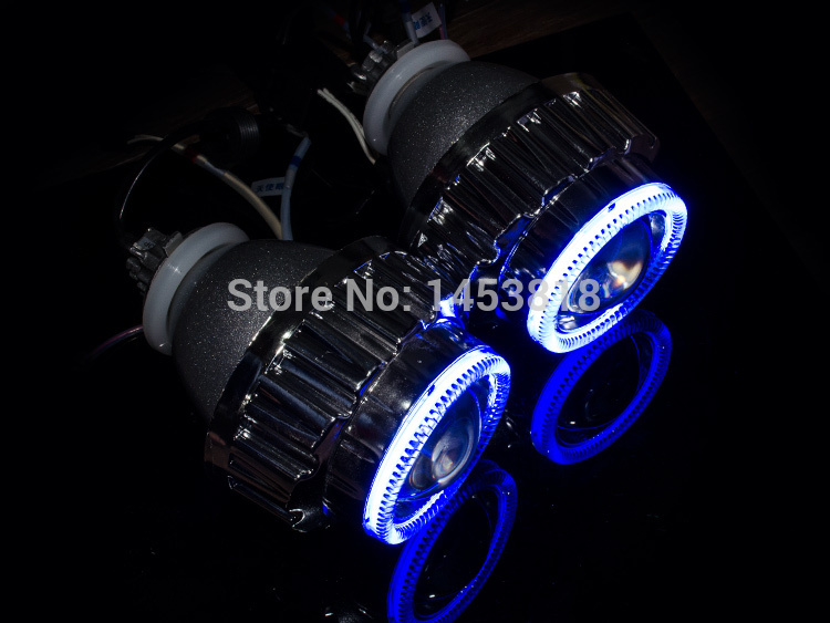 2.8HQ Blue White Yellow Lens Angel Eyes H1 H7 H4 H11 HB3 HB4 9004 9007 8000K 6000K 4300K NEW 2.8 inch Bi-xenon Projector Lens black auxiliary lighting brackets fog light with turn signals for harley street glide flhx electra glide trike frame parts 06 13