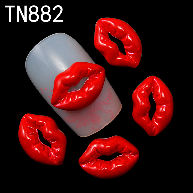 Blueness 10pc 2015 Fashion Red Lips Alloy Glitter 3d Nail Art Decorations With Rhinestones Tools,Alloy Nail Charms,TN882 blueness 10pcs lot red cherry 3d nail art charm decorations alloy glitter jewelry rhinestones for nail studs tools diy gem tn061