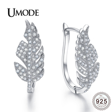 UMODE Fashion Hoop Earrings For Women 925 Sterling Silver Leaf Gift Bijoux Brincos Para As Mulheres Orecchini ALE0282