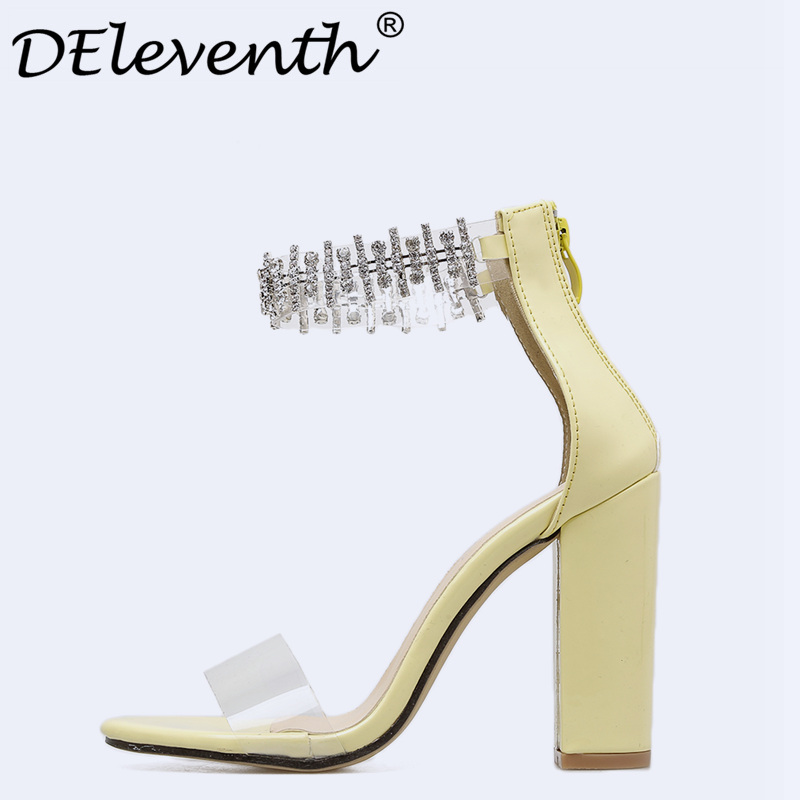 6bf590b697fd3 DEleventh 2018 Women Luxury Rhinestone Crystal Block Heels Sandals Pumps  Zipper Chunky Sandals Thick Heel Woman Summer Sexy shoe