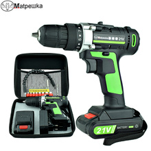 купить 21V Power Tools Home Cordless Electric Screwdriver Mini Electric Drill Multi-Function Lithium-Ion Rechargeable Electric Drill дешево