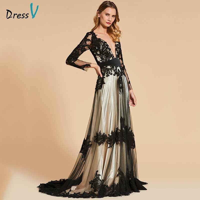 Dressv black elegant v neck long sleeves appliques   evening     dress   button a line wedding party formal   dress     evening     dresses