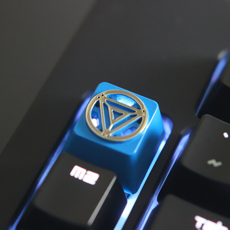 1pc Zinc-plated Aluminum Alloy Key Cap For Marvel's Iron Man Arc Reactor Mechanical Keyboard Relief Keycap R4 Height Relieving Rheumatism And Cold