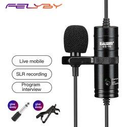 FELYBY ES 116 lavalier mikrofon kondensujący profesjonalna lustrzanka mikrofon krawatowy mini mikrofon wywiad nagrywania mic|Mikrofony|Elektronika użytkowa -