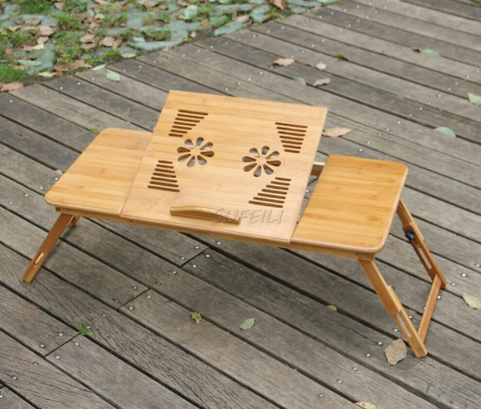 New arrival Laptop Table Portable Bamboo Laptop Stand Desk Folding Notebook Computer desk Table with Mouse Holder Tray Bed D5 portable folding laptop notebook table desk adjustable laptop stand desk picnic camping folding table with handle d5