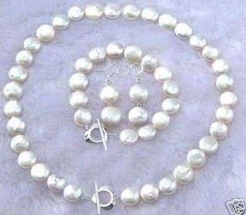 Livraison gratuite @ @ @ 11 - 12 MM blanc Coin collier de perles Bracelet boucles d'oreilles