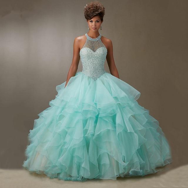9b41875e27 Lovely Rhinestone Beaded Halter Organza Layered Aqua Quinceanera Dresses  Ball Gown 2015