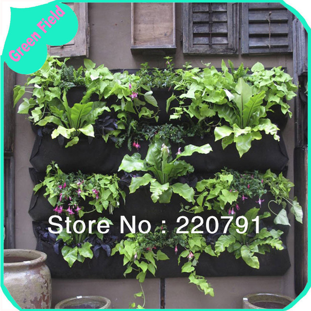 Felt Vertical Garden Hanging Green Wall Planter Pot Outdoor Decoration Small