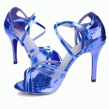Latin dance shoes woman Ballroom shoes PU Serpentine pattern Stiletto heel 8 5cm high heel