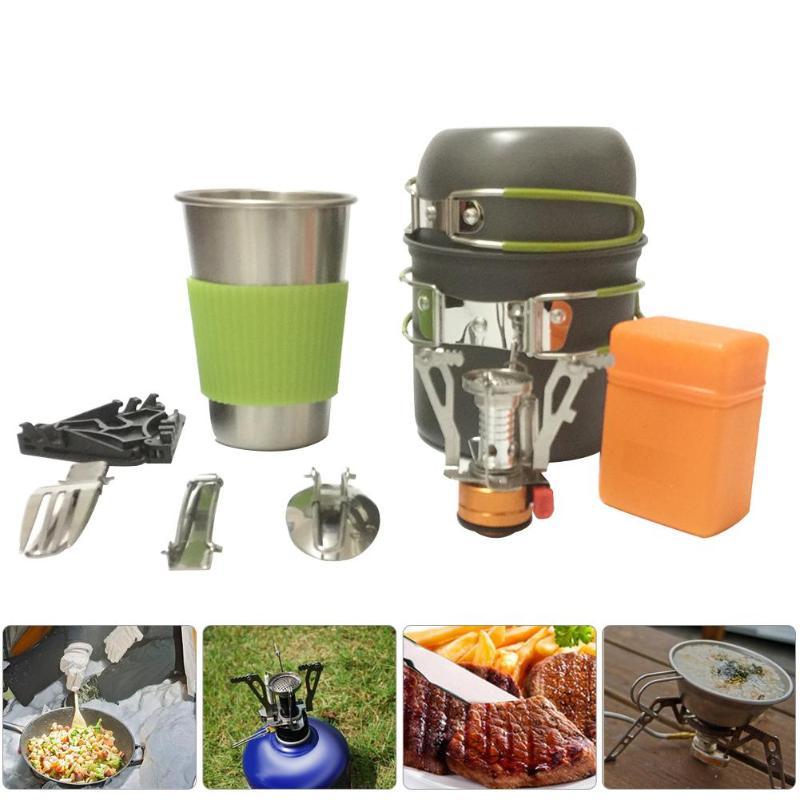 Al aire libre Camping senderismo vajilla de aleación de aluminio utensilios de cocina viaje Picnic tazón olla estufa conjunto para 1-2 personas + estufa