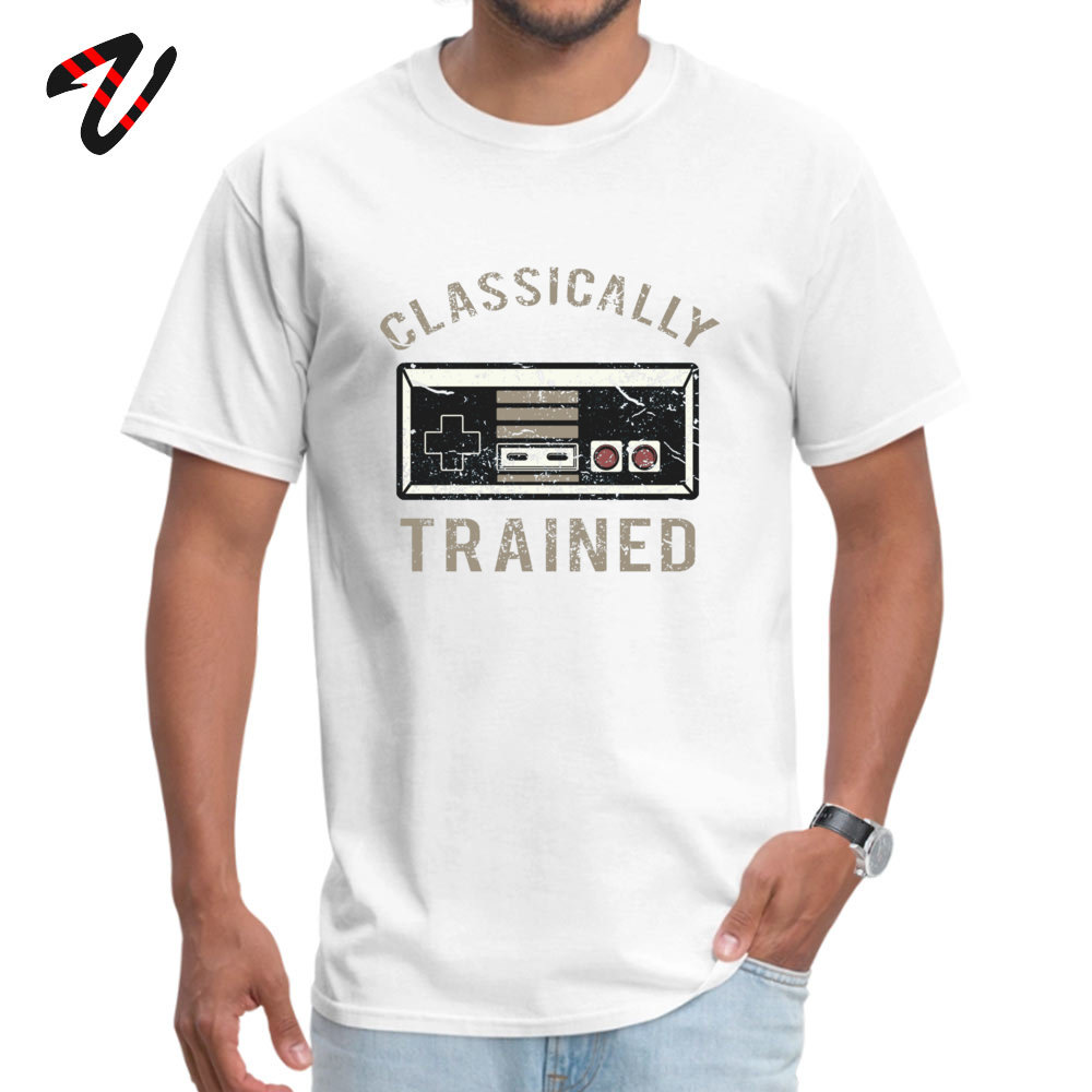 Gamer Trained 100% Cotton Men's Short Sleeve Tops T Shirt Fitness Tight Summer/Fall T-Shirt Casual Tops T Shirt Family O-Neck Gamer Trained 13417 white