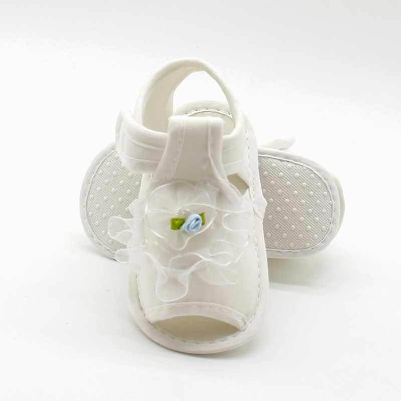 Sandálias femininas com renda e flores, sandálias de algodão para bebês meninas, sapatos de verão com flores