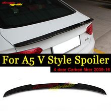 For Audi A5 A5Q 4-Door Rear Spoiler Tail V-Style High-quality Carbon Fiber Trunk Wing car styling Accessories 09-16