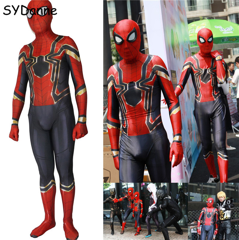 Adult Spiderman Homecoming Suit Cosplay Costumes Zentai Iron Spider Man Superhero Bodysuits Jumpsuits Mask For Men Boys Kids
