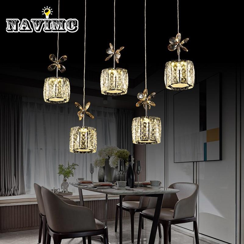 Restaurant Crystal Pendant Light Rectangle Round Crystal Pendant Lamp Modern Dining Room Hanging Lamp Bar Counter Lamp