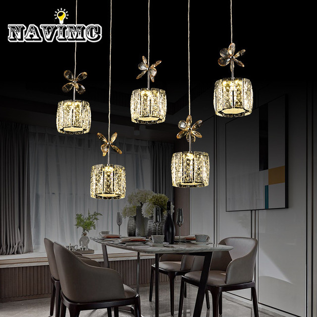 Restaurant Crystal Pendant Light Rectangle Round Lamp Modern Dining Room Hanging Bar Counter