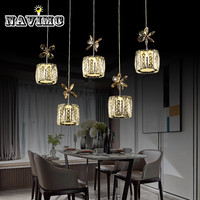 Restaurant Crystal Pendant Light Rectangle Round Crystal Pendant Lamp Modern Dining Room Hanging Lamp Bar Counter