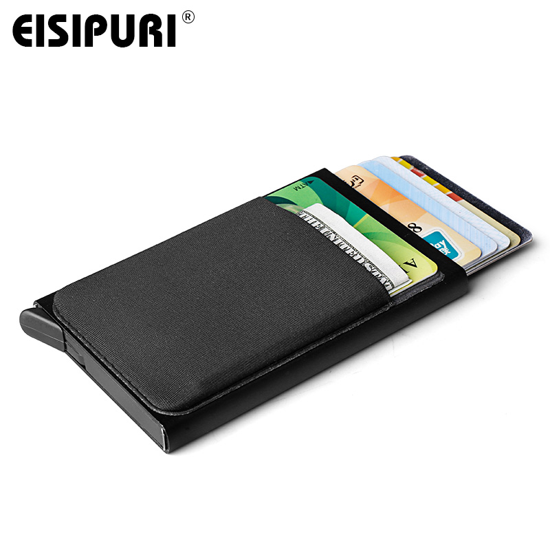 EISIPURI Aluminum Wallet Pocket ID Card Holder Rfid Blocking Mini Slim Metal Wallet Automatic Pop up Credit Card Case Protector