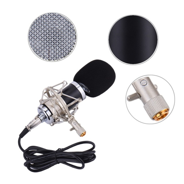 Professional Wired Condenser Microphone with 3.5MM Audio Plug Echo Function with Mic Shock Mount + Mic Wind Screen Pop Filter