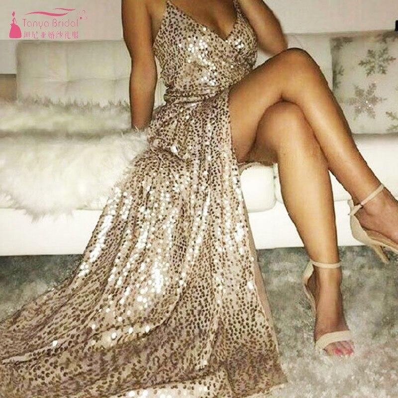 Prom     Dress   2019 Floor Length New Fashion V Neck Gold Formal Evening   Dresses   Side Slit Dinner Reception dignified DQG713