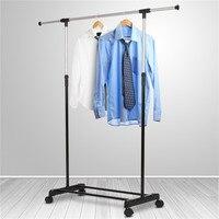 Liplasting Adjustable Rolling Steel Clothes Hanger Organizer Garment Rack Heavy Duty Rail With Wheel Clothes Storage