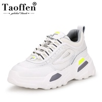 Taoffen Women Wedges Sneakers Genuine Leather Platform Casual White Shoes For Women Outdoor Brand Fitness Sneaker Size 35 39