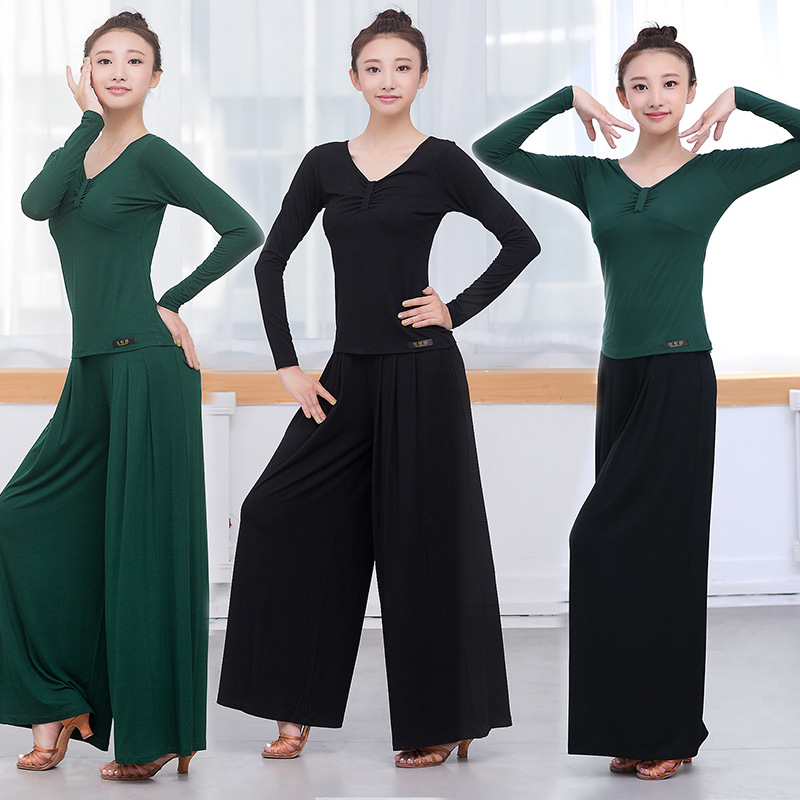 Latin Dance Wide Leg Pants Shirt Sets Green Black Tango Trousers Cha Cha/Salsa/Rumba/Ballroom Modern Dance Wear Costumes Yoga