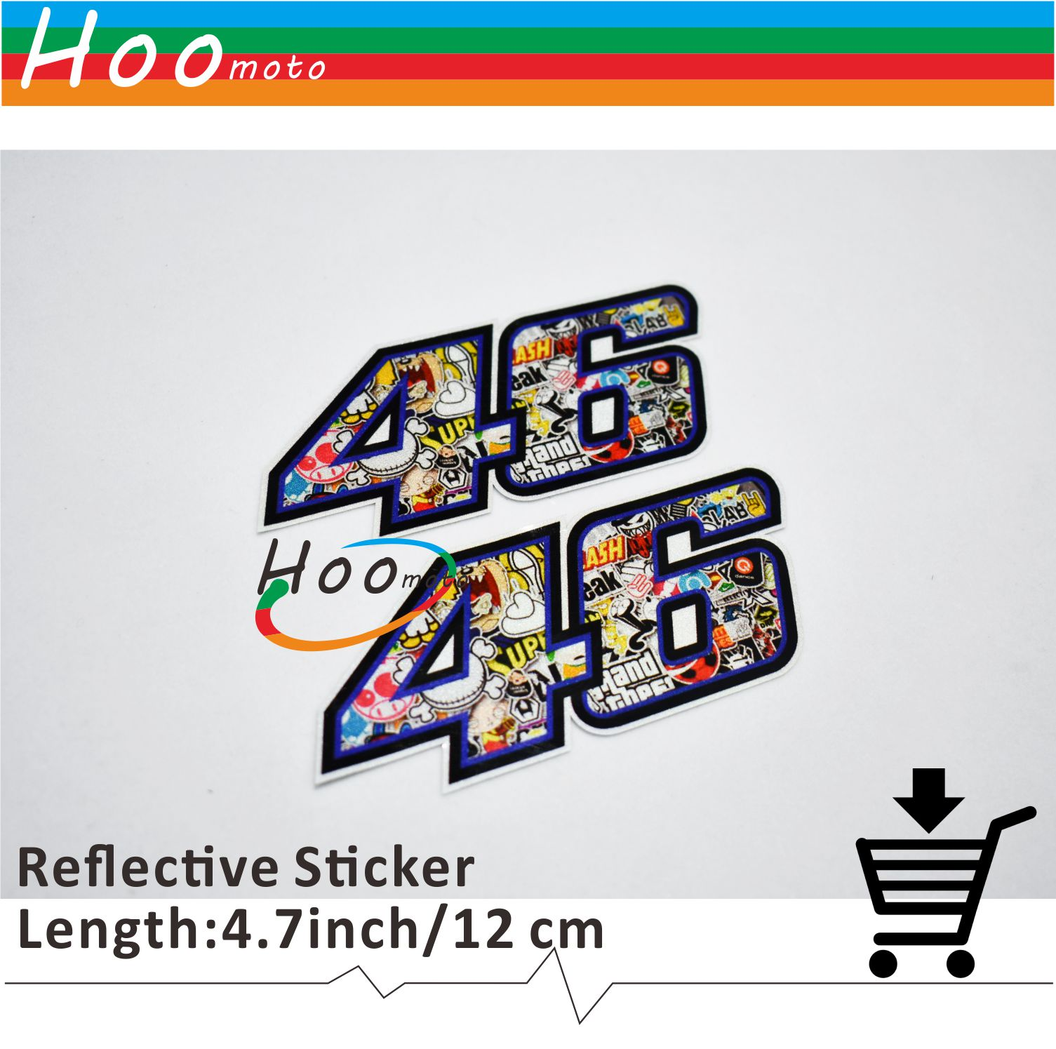 10CM 5CM 2 Pcs Motorcycle Car Sticker Reflective Decals Valentino Rossi MOTO GP VR 46 for