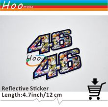 10CM*5CM 2 Pcs Motorcycle Car Sticker Reflective Decals Valentino Rossi MOTO GP VR 46  for Yamaha Honda Suzuki Kawasaki VR46