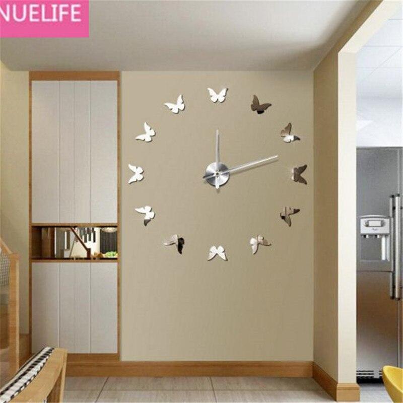 3D papillon motif acrylique horloge numérique miroir mur autocollant salon chambre Restaurant TV canapé fond Sticker mural N5