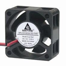2Pcs Gdstime Cooler 40mm 40x40x20mm 4020 DC 12V 2Pin Ball Bearing Brushless Cooling Fan