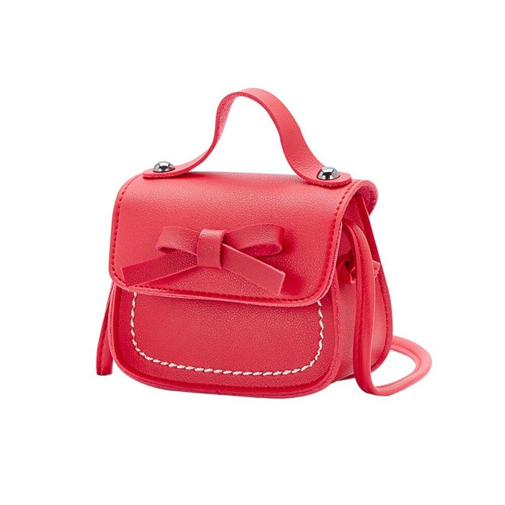 Новинка, брендовые сумки-мессенджеры для малышей, сумки на плечо для девочек, сумки на плечо для принцесс, однотонные кошельки с бантиком для принцесс - Цвет: Красный