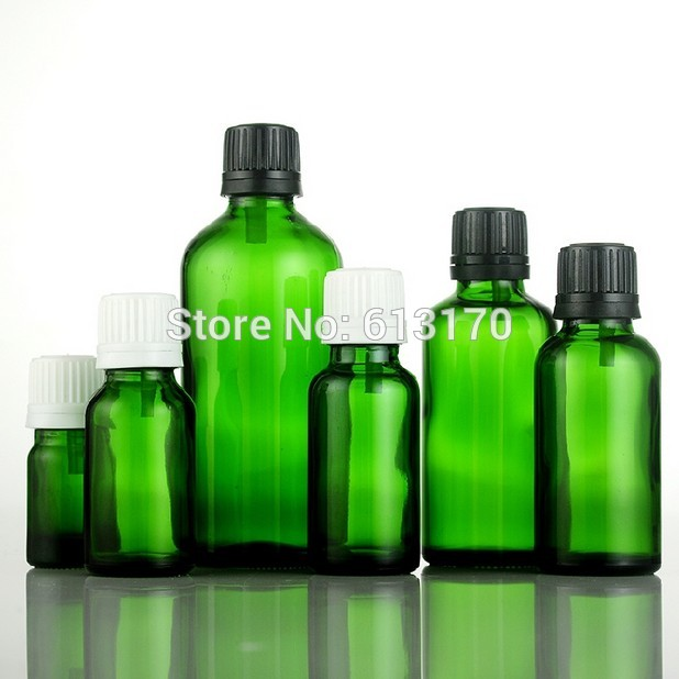 5ml,10ml,15ml,20ml,30ml,50ml,100ml Empty Glass Bottles Green Vials With White,Black Tamperproof Cap Essential Oil Bottles 100 pcs lot of small glass vials with cork tops 1 ml tiny bottles little empty jars