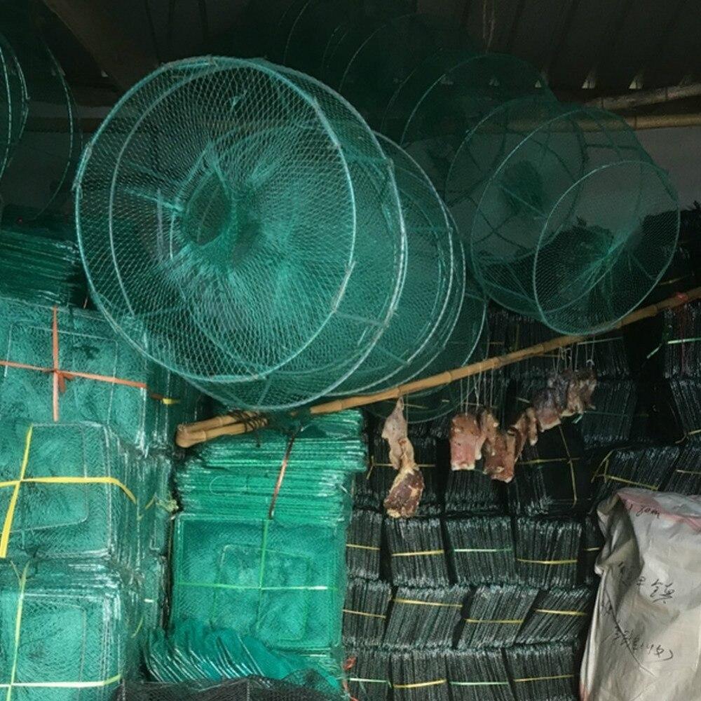 1 pc 10 m pliable Nylon crabe crevettes méné Cage de pêche piège filet de pêche Portable maille 32x24 cm accessoires de pêche