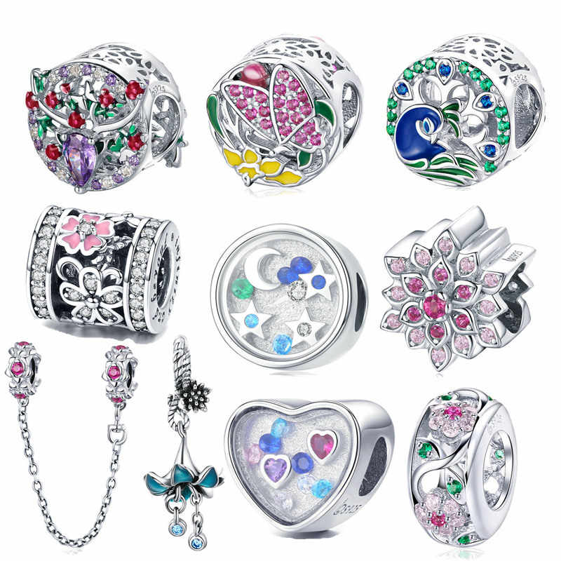 df7ec97a8 fit Pandora Bracelet 925 Sterling Silver Fairy Story Heart Zircon Moon Star  Heart Zircon Charm Deer