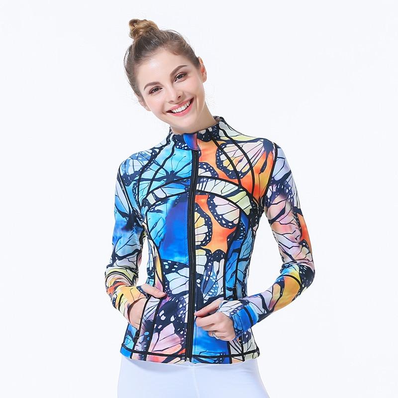 Autumn winter 2018 clothing Butterfly print Women yoga Jacket running sport windbreaker butterfly print mat