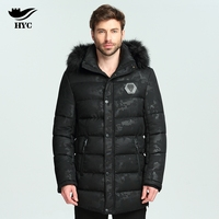 HYC Male Long Coat Puffer Jacket Winter Nylon Quilted Jacket Camouflage Parka Warm Fur Hooded Parka